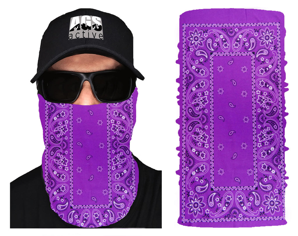 PURPLE CLASSIC PAISLEY Face Mask Neck Shield - AGS active