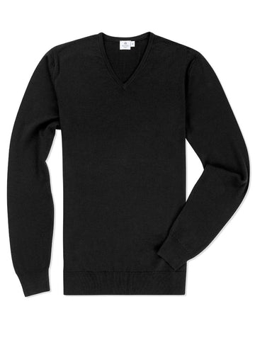 Sunspel Long Sleeve v Neck Jumper