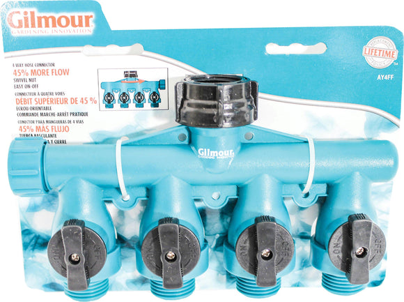 Full Flow 4 Way Shut Off Valve W/swivel Connect