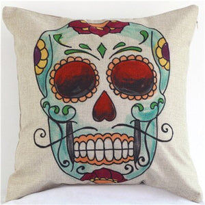 Beautyhouse Decor Colored flowers skull wholesale wedding gift cushion cover home car office sofa decorative party pillow case | Tête De Mort Passion Shop
