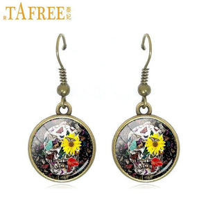 TAFREE 2017 New Skull Drop Earrings high quality dangle earrings wholesale Cabochon Dome glass personality jewelry A641 | Tête De Mort Passion Shop