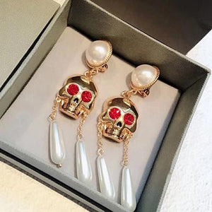 Women Dangle Earring Jewelry Fashion Pearl Skull Party Drop Earrings | Tête De Mort Passion Shop