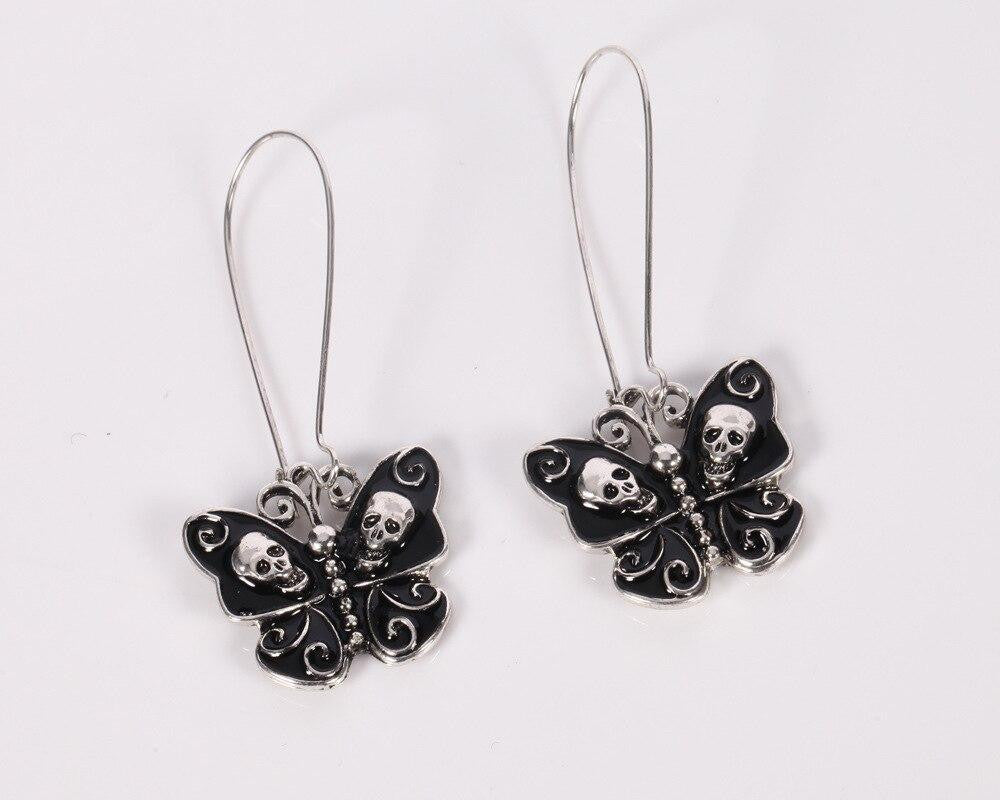 Fashion Personality Trend Long Earrings Women Lady Vintage Punk Gothic Jewelry Butterfly Skull Dangle Earrings | Tête De Mort Passion Shop