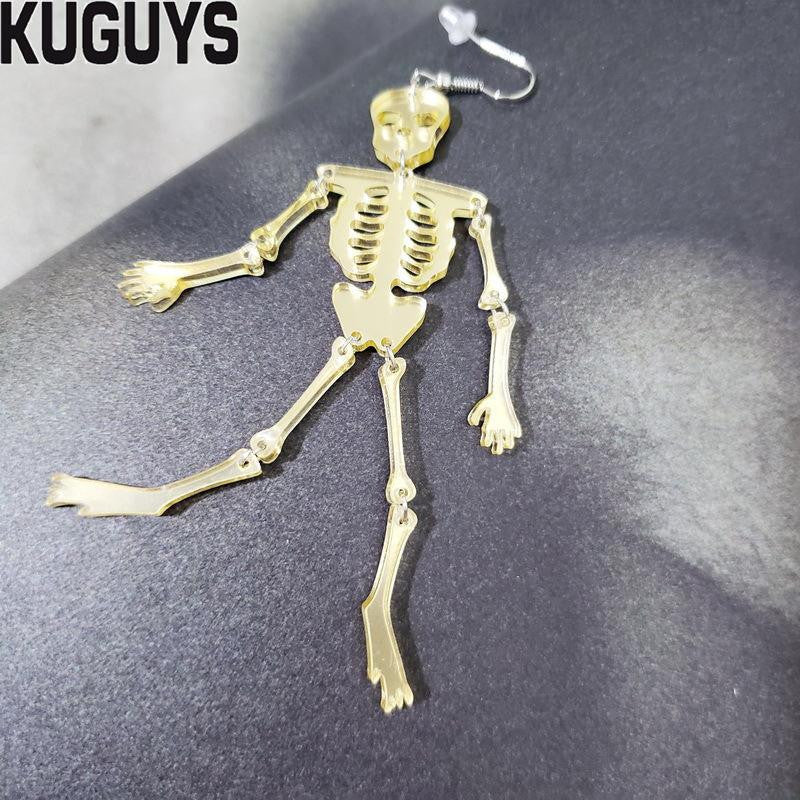 KUGUYS Halloween Jewelry Acrylic Skeleton Large Earrings for Womens Pendientes Skull Drop Earring Brincos Hallowmas Accessories | Tête De Mort Passion Shop