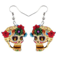 Charger l'image dans la galerie, Bonsny Statement Acrylic Classic Halloween Floral Skull Earrings Dangle Drop New Elegant Jewelry For Women Girls Ladies Charms | Tête De Mort Passion Shop