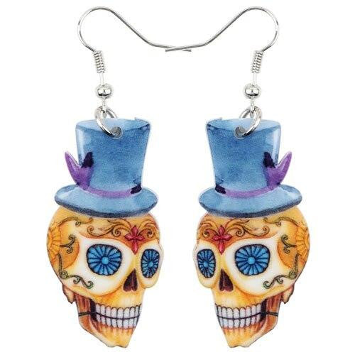 Bonsny Acrylic Dangle Drop Gentry Skeleton Skull Earrings Big Long Halloween Festival Novelty Jewelry For Girls Women 2018 Hot | Tête De Mort Passion Shop