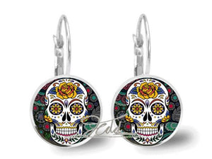 Brincos Sugar Skull Earrings Glass Art Punk Skull Jewelry Glass Earrings Silver Statement Earrings for women | Tête De Mort Passion Shop