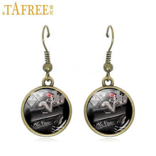 Charger l'image dans la galerie, TAFREE 2017 New Skull Drop Earrings high quality dangle earrings wholesale Cabochon Dome glass personality jewelry A641 | Tête De Mort Passion Shop