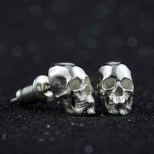 Original Design Pure 925 Silver Skull Earrings Men and Women Superfine Punk Earrings Nice Present for Birthday | Tête De Mort Passion Shop