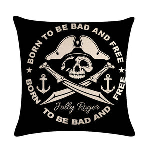 Pirate Cushion Covers Skull Pattern Printing Car Seat Home Sofa Pillowcase Decoration Death 45*45cm Throw Pillow Cover | Tête De Mort Passion Shop