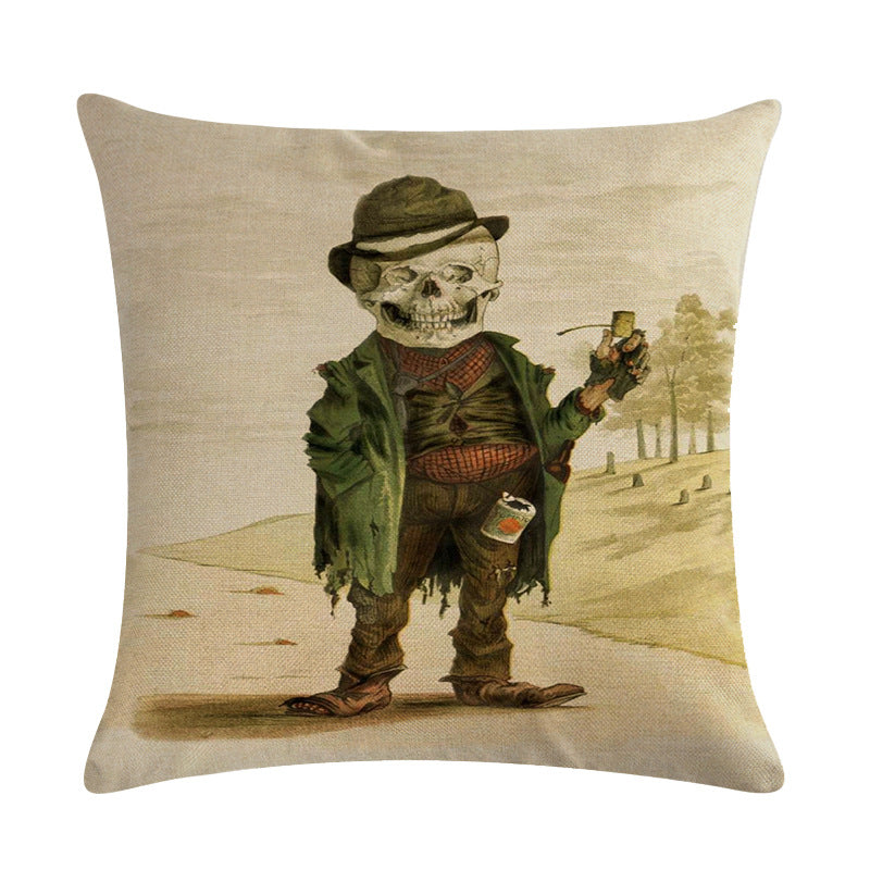 Skull Cushion Cover 45x45cm Terror Death Pillowcase Halloween Cotton Linen Home Decor Throw Pillow Cover For sofa | Tête De Mort Passion Shop
