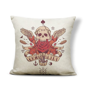 Scary Halloween Skull Pillow Case Hat Star Moon Heart Shape Flower Decoration Pillows Home Castle Sofa Bed Cushion Cover 43*43 | Tête De Mort Passion Shop