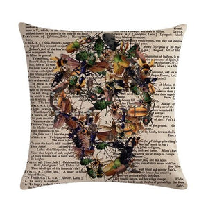 Creative Insect Letter Linen Blend Pillow Covers Home Decorative Throw Pillows Case Coffee House Skull Art Printed Cushion Cover | Tête De Mort Passion Shop