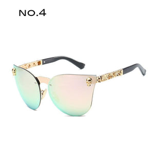 TAOTAOQI Luxury Mirror Leg Sunglasses Women Brand Designer Large Lens Cat Eye Sunglasses Men UV400 Skull Decorative Glasses | Tête De Mort Passion Shop