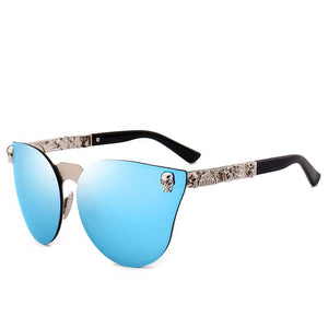 SIMPRECT 2019 Cat Eye Sunglasses Women Retro Mirror Metal Frame Skull Sun Glasses Vintage Brand Designer Lunette De Soleil Femme | Tête De Mort Passion Shop