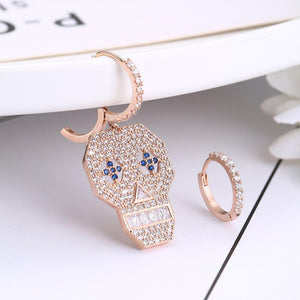 Vintage Rose Gold Silver Color Big Size Shantou Stud Earrings For Women High Quality Cubic Zirconia Skull Hoop Earring Wholesale | Tête De Mort Passion Shop