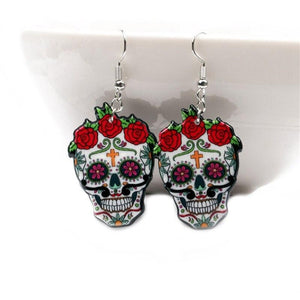 Sugary Skull Earrings Celebrate Mexican Day Of The Dead Halloween Acrylic Cute Halloween Skull Earring | Tête De Mort Passion Shop
