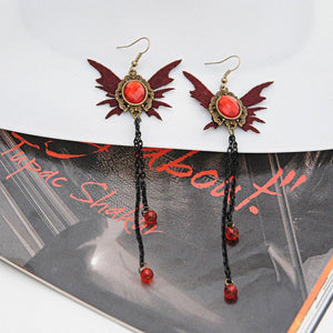 Zerotime #P501 2019 NEW 1Pair Helloween Long Retro Enameled Butterfly Gothic Dangle Skull Punk Earrings unique hot Drop Shipping | Tête De Mort Passion Shop