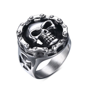 Men's Stainless Steel Ring Motorcycle Chain Skull Cross Hallows' Day Halloween Jewellery | Tête De Mort Passion Shop