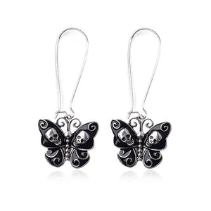 Personality Butterfly Skull Pendant Earrings Black Butterfly Skeleton Ear Hook Fashion Female Charm Exquisite Jewelry | Tête De Mort Passion Shop