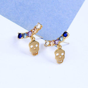 HuaZ 925 Silver Needle Europe and America Fashion Zircon Creative Skull Earrings Selling | Tête De Mort Passion Shop