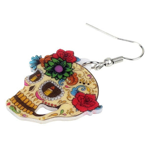 Bonsny Statement Acrylic Classic Halloween Floral Skull Earrings Dangle Drop New Elegant Jewelry For Women Girls Ladies Charms | Tête De Mort Passion Shop