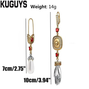 KUGUYS Asymmetric Vintage Crystals Long Tassel Earrings for Womens Trendy Jewelry Fashion Skull Hand Earring Party Accessories | Tête De Mort Passion Shop