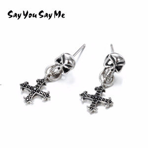 Say You Say Me 925 Silver Cross Earrings Motorbiker Accessories Gothic Style Skull Earrings Dropshipping Wholesales | Tête De Mort Passion Shop