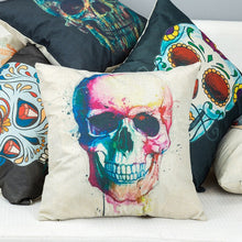 Charger l'image dans la galerie, Skull Pillowcase Punk Skull Halloween Pillow Case Lovers Terror Crown Sugar Skull Skeleton 45X45CM Throw Pillow Decorative | Tête De Mort Passion Shop