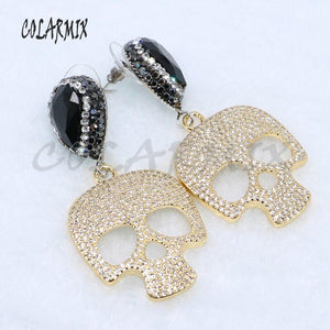 Fashion small skull earrings Pave zircon high quality jewelry earrings Cute jewelry gift for lady Skull jewelry earrings 5057 | Tête De Mort Passion Shop