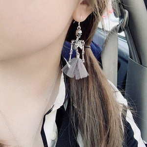 Gothic Dark Stylish Skeletons Danlge Earrings For Women Vintage Halloween Punk Black Dress SKull Drop Earrings 2019 femme bijoux | Tête De Mort Passion Shop