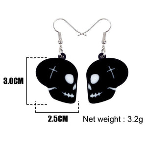 Bonsny Acrylic Halloween Black Skull Mask Earrings Drop Dangle Fashionable Decoration Jewelry For Women Girls Teens Gift Charms | Tête De Mort Passion Shop