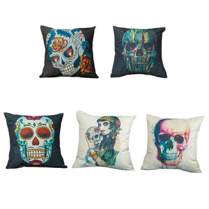Skull Pillowcase Punk Skull Halloween Pillow Case Lovers Terror Crown Sugar Skull Skeleton 45X45CM Throw Pillow Decorative | Tête De Mort Passion Shop