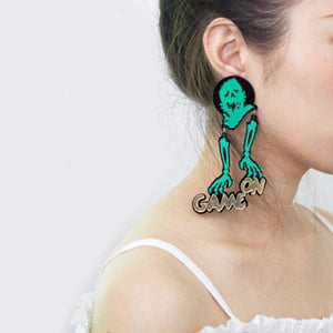 Sanyu Halloween Jewelry Acrylic Skeleton Large Earrings for Womens Pendientes Skull Drop Earring Brincos Hallowmas Accessories | Tête De Mort Passion Shop