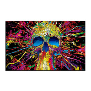 Large size Printing Oil Painting colorful skull Wall painting Decor Wall Art Picture For Living Room painting No Frame | Tête De Mort Passion Shop