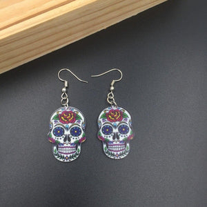 Silver Hooks Calavera Cross Skull Earrings Celebrate Mexican Day of the Dead Halloween Acrylic Cute Halloween Skull Earring | Tête De Mort Passion Shop