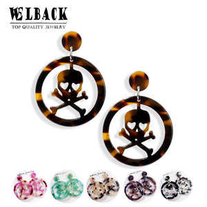 WELBACK 2019 Fashion Acrylic Pirate Skull Dangle Earrings Vintage Statement Round Pendant Earrings Women's Party Jewelry Brincos | Tête De Mort Passion Shop