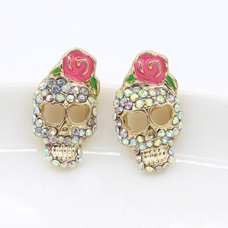 Women Fashion Accessories 1 Pair Personality Cute Pink Rose Rhinestone Skeleton Skull Ear Studs Earring | Tête De Mort Passion Shop