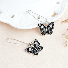 Charger l'image dans la galerie, Personality Butterfly Skull Pendant Earrings Black Butterfly Skeleton Ear Hook Fashion Female Charm Exquisite Jewelry | Tête De Mort Passion Shop
