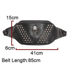 Charger l'image dans la galerie, DIINOVIVO Skull Rock Waist Bag Women Steampunk Rivet Fanny Pack Leather Chest Bag Female Bum Bags Punk Waist Belt Bags WHDV1107 | Tête De Mort Passion Shop