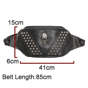 DIINOVIVO Skull Rock Waist Bag Women Steampunk Rivet Fanny Pack Leather Chest Bag Female Bum Bags Punk Waist Belt Bags WHDV1107 | Tête De Mort Passion Shop