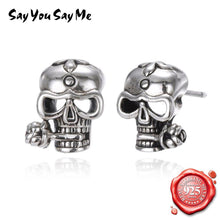 Charger l'image dans la galerie, Say You Say Me Trendy Cool Stud Earrings 925 Silver Skull Earrings Punk Style for Party Creative Present Dropshipping | Tête De Mort Passion Shop