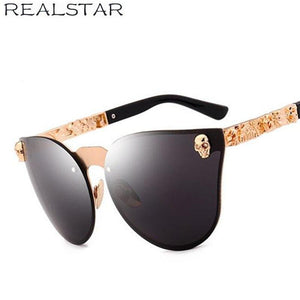 REALSTAR Brand Metal Skull Sunglasses Men Luxury Mirror Designer Sun Glasses Women 2018 Retro Eyewear Oculos Vintage Shades S184 | Tête De Mort Passion Shop