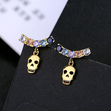 Charger l'image dans la galerie, HuaZ 925 Silver Needle Europe and America Fashion Zircon Creative Skull Earrings Selling | Tête De Mort Passion Shop