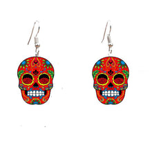 Charger l'image dans la galerie, Colorful Sugary Sweety Calavera Skull Dangle Earrings Celebrate Mexican Day of the Dead Halloween Acrylic Catrina Earring | Tête De Mort Passion Shop