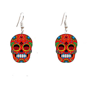 Colorful Sugary Sweety Calavera Skull Dangle Earrings Celebrate Mexican Day of the Dead Halloween Acrylic Catrina Earring | Tête De Mort Passion Shop