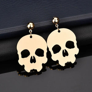 Fashion exaggerated nightclub skull earrings Color environmentally friendly aluminum alloy skull head earrings Z065 | Tête De Mort Passion Shop