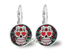 Charger l'image dans la galerie, Brincos Sugar Skull Earrings Glass Art Punk Skull Jewelry Glass Earrings Silver Statement Earrings for women | Tête De Mort Passion Shop