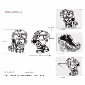 Say You Say Me Trendy Cool Stud Earrings 925 Silver Skull Earrings Punk Style for Party Creative Present Dropshipping | Tête De Mort Passion Shop