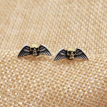 Charger l'image dans la galerie, Solid Silver 925 Punk Skull Wing Stud Earring Men Women Gothic Punk Style 100% Real 925 Sterling Silver Cool PersonalityJewelry | Tête De Mort Passion Shop